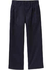 Boys Pleated Twill Pants - Uniform Blue