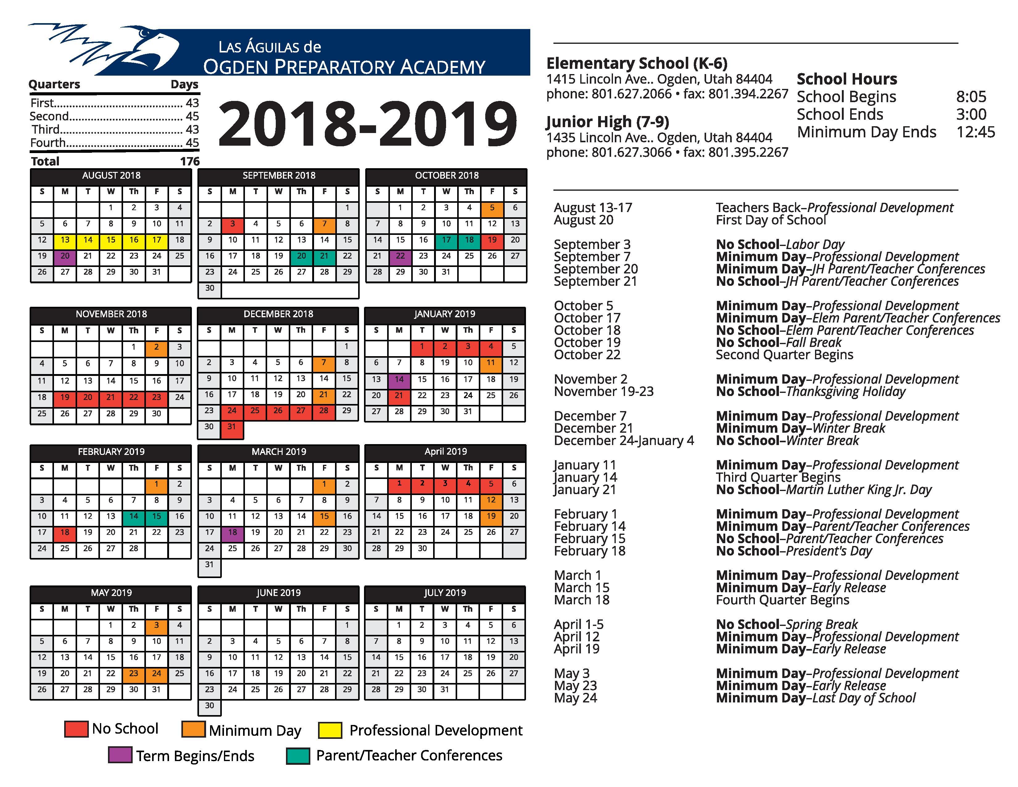 School Calendar 2018 : Calendars ogden preparatory academy